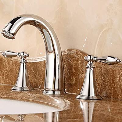 ZXUE All-Copper Three-Hole Basin Faucet Hot and Cold Washbasin Faucet Split Double European-Style Bathroom Antique Faucet