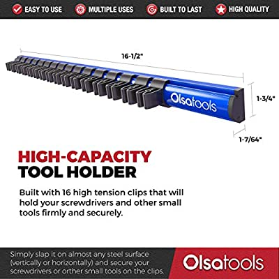 Magnetic Screwdriver Organizer | Premium Quality Magnetic Tool Holder | Fits up to 16 Screwdrivers | Blue | by Olsa Tools: Automotive