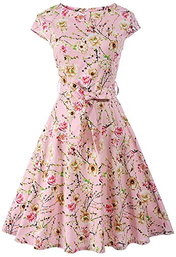 ANCHOVY Womens Spring Garden Floral Print Rockabilly Swing Prom Cocktail Dress Cap Sleeve C67 (Pink, - Cap Boatneck Sleeve