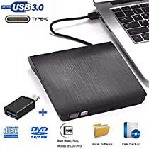 Grabadora DVD Externa, iAmotus Unidades CD/DVD Externas USB 3.0 Lector Grabadora Y Tipo-c Grabadora Externa Ultra Slim