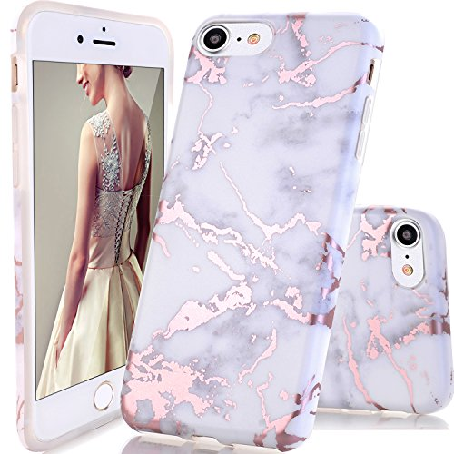 iPhone 7 Case,iPhone 8 Case,DOUJIAZ Shiny Rose Gold White Marble Design Clear Bumper TPU Soft Case Rubber Silicone Skin Cover...  iphone 7 cases marble | Unboxing Phone Cases | PopSockets 51g9zccA7SL