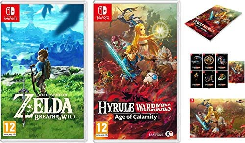 The Legend Of Zelda Breath Of The Wild Hyrule Warriors Age Of Calamity Bundle Poster Notebook Postcards Nintedo Switch Amazon Co Uk Pc Video Games
