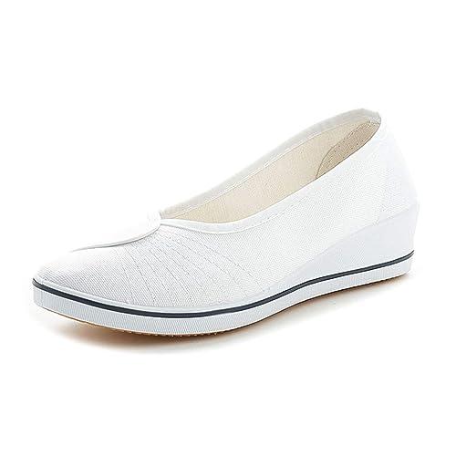 Mujer Pisos Plataforma Enfermera Zapatos Casual Tela Sólida Slip-On Trabajo Mocasines Lona Cuñas Calzado: Amazon.es: Zapatos y complementos