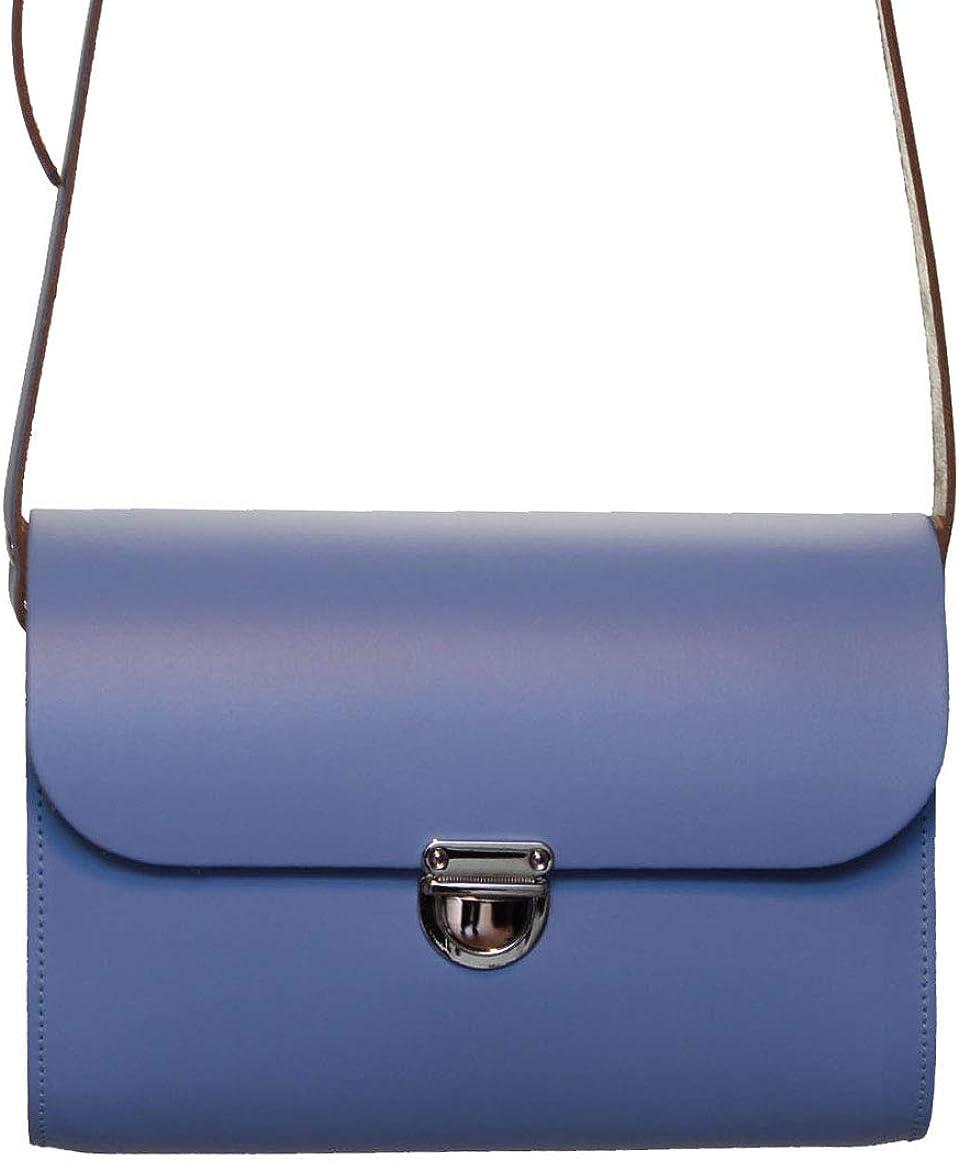 A to Z Leather Tasche aus Rindsleder für Frauen mit Druckknopf und verstellbarem Riemen. Anpassbar mit Ihren Initialen. Klein - Glockenblumen Blau