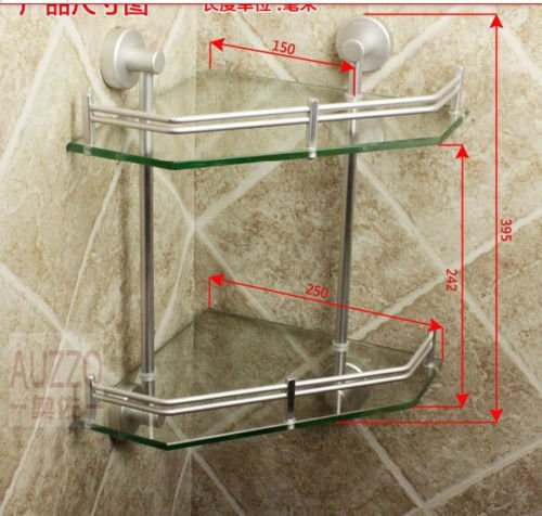 New Luxury Bathroom 2-Tier Glass Shelf Glass Shower Shelving Corner Aluminium by Bathroom Shelves (Image #1)