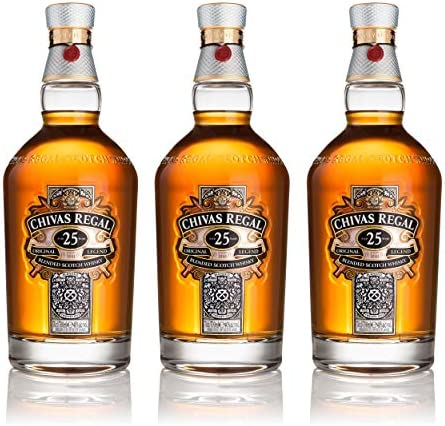 Chivas Regal Juego de 3 vasos de whisky escocés de 25 años, whisky, chupito, alcohol, botella, 40 %, 3 x 700 ml