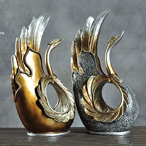 Home Decoration, Hand-Painted Resin Crafts swan Ornaments Sculpture Living Room Decorations Nordic Decorative Wine Cabinet Home (Color : A+b) by None (Image #5)
