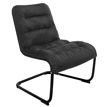 . Zenree Comfy Bedroom Reading Chairs  Living Room Lounge Chair for Guest s  Room Apartment  Colleage Dorm  Teen s Room  Padded Seat Black