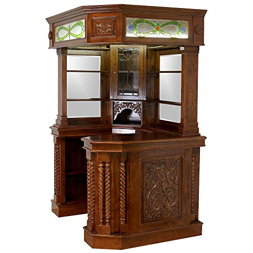 corner-home-bar-furniture-solid-mahogany-with-tiffany-glass-canopy-antique-replica