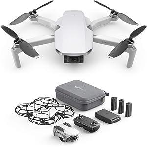 DJI Mavic Mini Combo - Drohne leicht und tragbar, Batterielaufzeit: 30 Minuten, Übertragungsentfernung: 2 km, Gimbal 3-Achsen, 12 MP, Video HD 2,7 K (EU-Stecker)