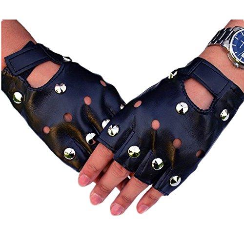 ZHANGHUI Men's Fashion Rivets Non-Mainstream Punk Street Dance Fingers Performance Gloves