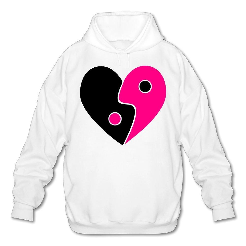 WestWell Jing jang Heart Mens Blank Hooded Sweatshirt Comfortable