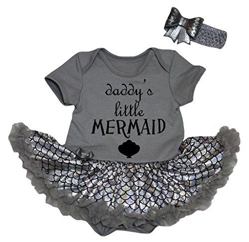 [Petitebella Daddy's Little Mermaid Gray Bodysuit Bling Silver Scale Tutu Nb-18m (0-3 Months)] (Little Mermaid Tutu Dress)