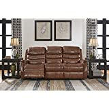 Ashley Furniture Signature Design - Metcalf Recliner Sofa - Power Reclining Couch - Contemporary Style - Nutmeg