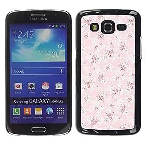 LECELL--Funda protectora / Cubierta / Piel For Samsung Galaxy Grand 2 SM-G7102 SM-G7105 -- Wallpaper Pink Vintage Pattern --