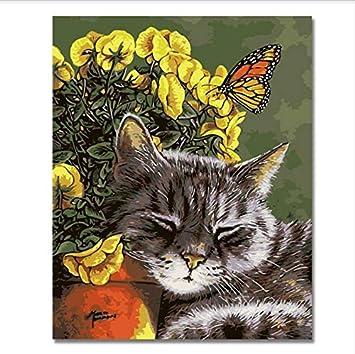 Cuadros De Animales Por Números Diy Gato Y Mariposa Pintura Al Óleo Trabajo Hecho A Mano Sobre Lienzo Arte Para Colorear Decoración Para La Sala De Estar ...