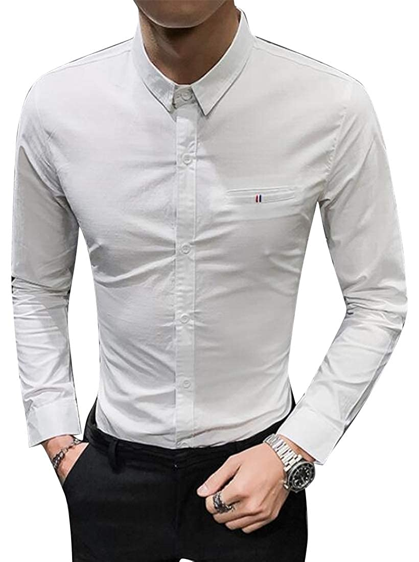 Jotebriyo Mens Business Long Sleeve England Casual Slim Fit Button Down Dress Shirts