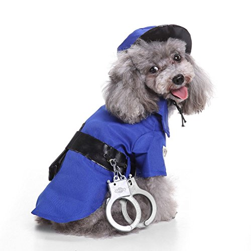 Tutuba Halloween Police Dog Pet Costume Suits Outfit for Small Dog