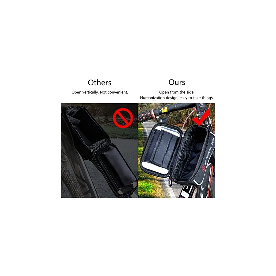 """Bike Bag, 6.0 """"Touch Screen Portable Road Mountain Bicycle Panniers Cell Phone Holder For Outdoor Cycling"""