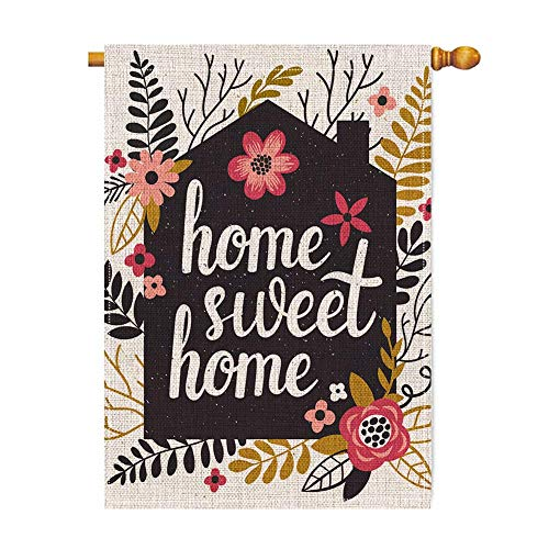 (BLKWHT Home Sweet Home Large House Flag Vertical Double Sided 28 x 40 Inch Spring Summer Yard Outdoor Decor)