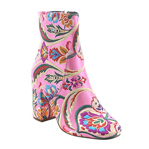 X2b Fj59 Womens Chunky High Heel Floral Embroidery Ankle Booties  Color Pink  Size 8 5