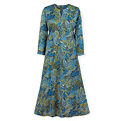 Collections Women's Paisley Zip Front Long Sleeve Lounger