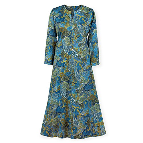Women's All-Over Paisley Print Zip Front Long Sleeve Lounger with Split V-Neck and Side Pockets, Blue/Green, Large