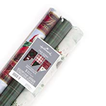 Hallmark Reversible Christmas Wrapping Paper Bundle, Plaid (Pack of 3, 120 sq. ft. ttl.)