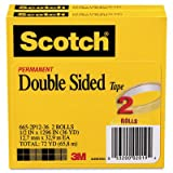 665 Double-Sided Tape, 1/2'' x 1296'', 3'' Core, Transparent, 2/Pack, Total 12 PK, Sold as 1 Carton
