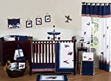 Red, White and Blue Vintage Aviator Airplane Plane Baby Boy Bedding 11 pc Crib Set without bumper