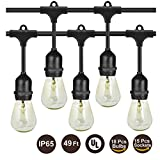 BRTLX Commercial Grade Outdoor Weatherproof S14 String Lights 49Ft with 15 Dropped Sockets UL Listed