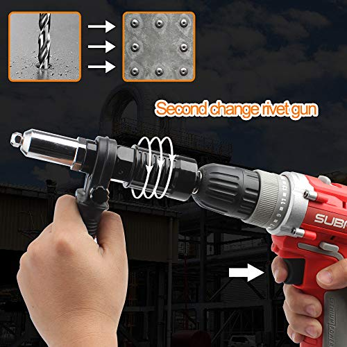 Cordless Drill Electric Rivet Gun Adapter-Professional Riveting Insert Nut Hand Tool Kit with Aluminum Casting Housing and a Non-slip Handle-4pcs Convertible Head and a Wrench by DoubleSun (Image #3)
