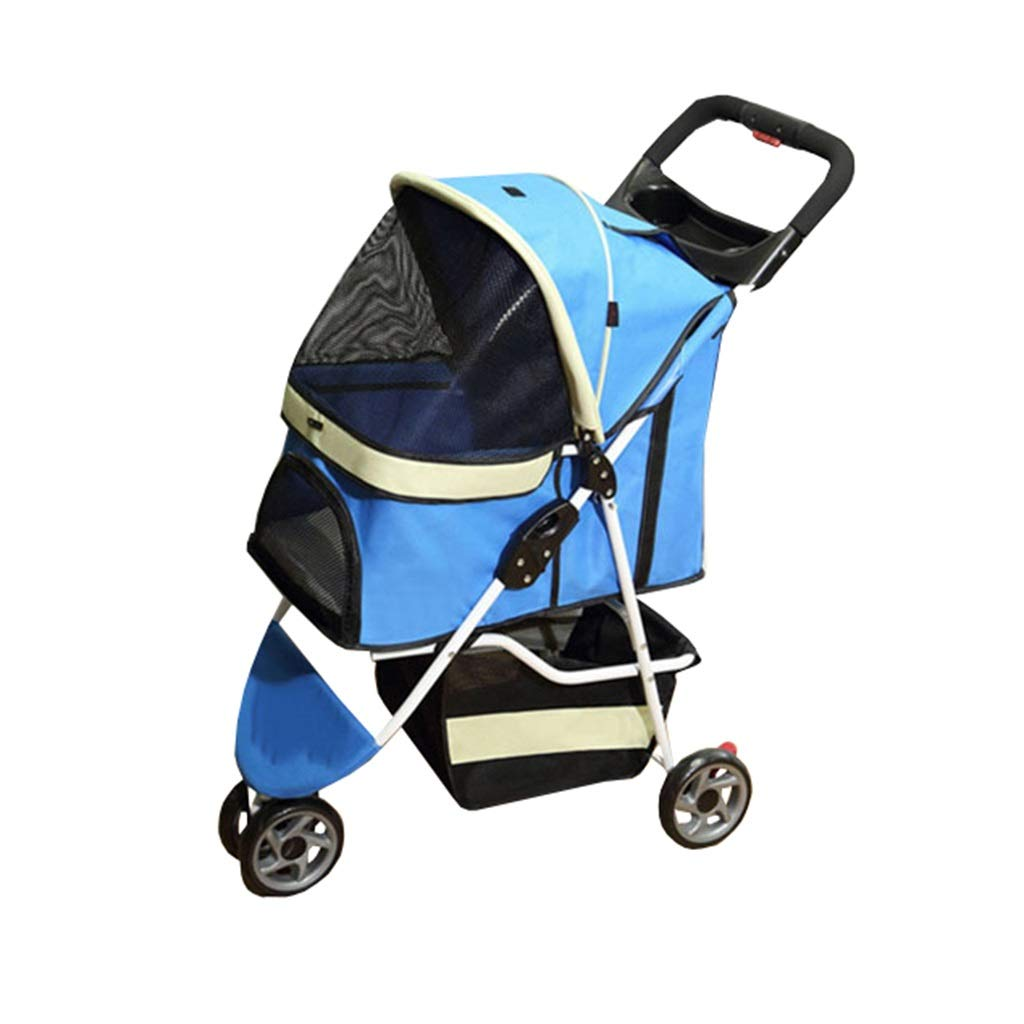 bluee Dog Pushchair, Stroller Pram Carrier Travel Outdoor Pet Trolley Cat Cart Foldable for Medium Small Dogs 3 Wheel Jogger (color   bluee)