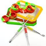 SILICONE ALLEY Carving Tool/Carver (3) + [Rasta Edition KIT] Red/Yellow / Green Mat (3) + Wax Jar of Tie Dye Dabs of Colors (3) + Container Holder (1)