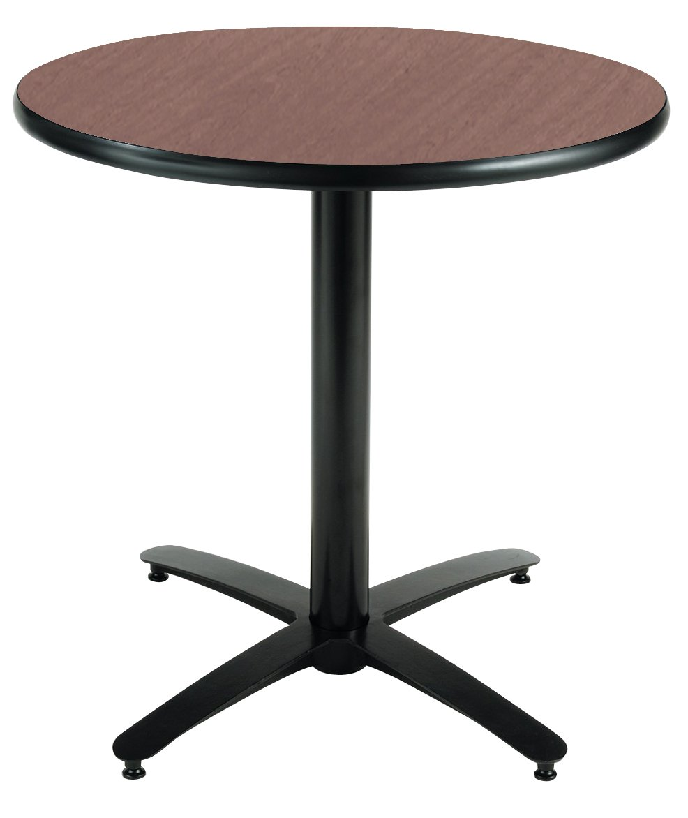 KFI Seating Round Pedestal Table with Arched X Base, Commercial Grade, 30-Inch, Dark Mahogany Laminate, Made in the USA by KFI Seating