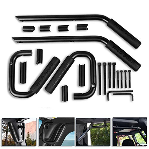 Wrangler Jk Unlimited 4 Door (Front Rear Grab Bar Grab Handle Kit for 2007-2018 Jeep JK Wrangler & Unlimited 4 Door - Pair (Black))