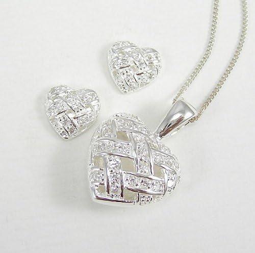 LJ Designs Silver CZ Woven Heart Pendant /& Earring Set PS07