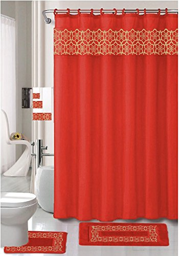18 Piece Elegant Bathroom Set: 2-Rugs/Mats (1-Contour Rug, 1-Bath Mat) Poly Acrylic Pile Rubber Backing, 1-Fabric Shower Curtain, 12-Fabric Covered Rings, 3-Piece Decorative Towel Set (Red) ()