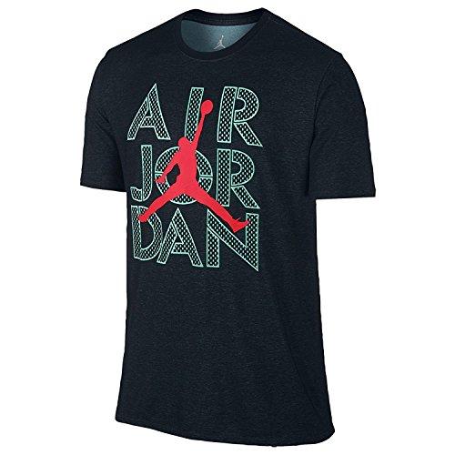 Jordan Men's AJ Stencil Dri-FIT T-Shirt XX-Large Black Hyper Turquoise Infrared