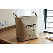 Yiuswoy Large Foldable Storage Baskets and Bins,Rectangle Laundry Bin Linen Cotton Toy Organizer Bins and Storage Bin for Nursery or Kids Room - Light Brown