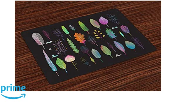ABAKUHAUS Naturaleza Salvamantel Set de 4 Unidades, Ecosistema De Bosque De Otoño, Material Lavable Estampado Decoración de Mesa Cocina, Multicolor