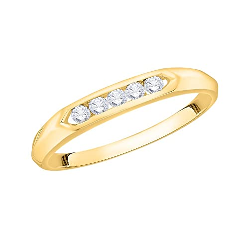 Size-5.5 Diamond Wedding Band in 10K Yellow Gold G-H,I2-I3 1//8 cttw,