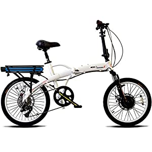"""ProdecoTech Mariner 8 v5F 36V300W 8 Speed Electric Bicycle 10Ah Samsung Li ion, Pearl White, 17""""/One Size"""