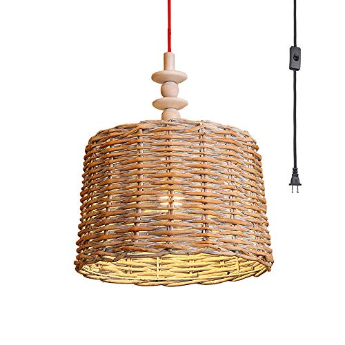 (NWLAMP Bamboo Rattan Plug in Pendant Light, Country Vintage Pendant Lighting, Decorative Ceiling Light Fixture, Hanging Light Fixture for Bedroom Dining Room Resturant Bar Kitchen Island)
