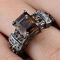Vintage 925 Silver Black Gold Filled Smoke Topaz Gem Band Wedding Ring Sz 6-10 (6)