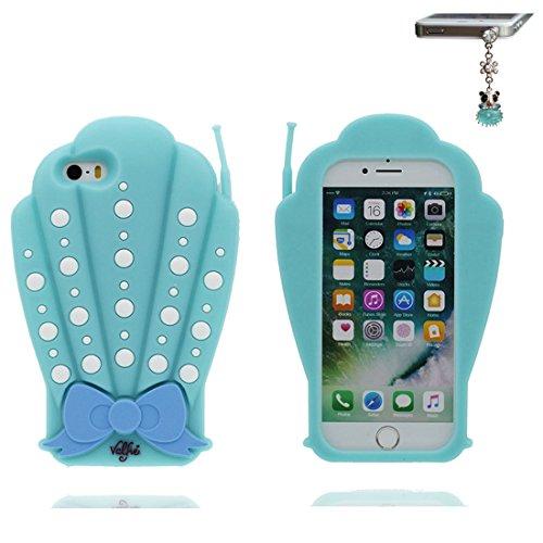 iPhone 5 Coque, [ 3D Coquillages TPU Material Flexible ] Housse Étui pour iPhone 5C 5G, iPhone 5S Case, Bowknot Dust Slip Scratch Resistant, iPhone SE Cover shell & Bouchon anti-poussière