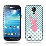 Nextkin Samsung Galaxy S4 mini I9190 Flexible Slim Silicone TPU Skin Gel Soft Protector Cover Case - Pink Deer Teal Monogram