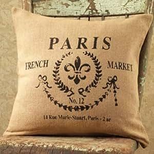 Amazon Paris French Market No 12 Cotton Burlap Throw