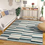 Well Woven Bryson Stripes Geometric Blocks Blue & Grey Area Rug 5x7 (5'3' x 7'3')