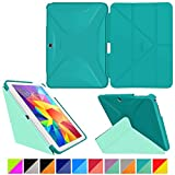 """roocase Samsung Galaxy Tab 4 10.1 Case - Origami 3D [Turquoise Blue / Mint Candy] Slim Shell 10.1-Inch 10.1"""" Smart Cover with Landscape, Portrait, Typing Stand"""